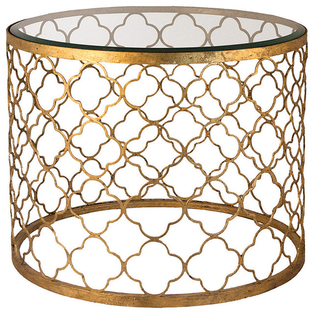 Heston hollywood regency gold leaf beveled glass round end for Round gold side table