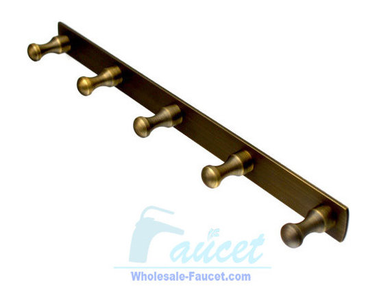 5-Peg Antique Brass Bathroom Robe Hook Rail - 5-Peg Hook Rail in Antique Brass adds a timeless and traditional appearance to your bathroom decor. The 5-Peg design helps provide ample storage of your bath robes and towels.