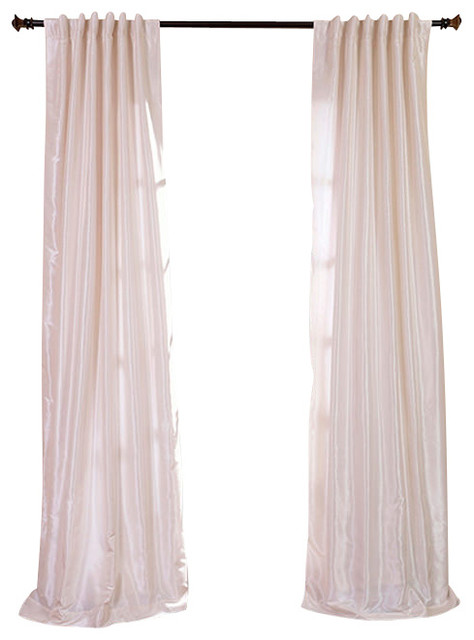 Off White Textured Vintage Faux Dupioni Silk Curtain traditional-curtains