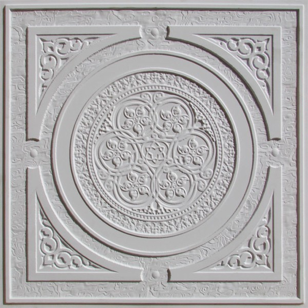 225 White Matte Decorative Ceiling Tile 24x24 Steampunk