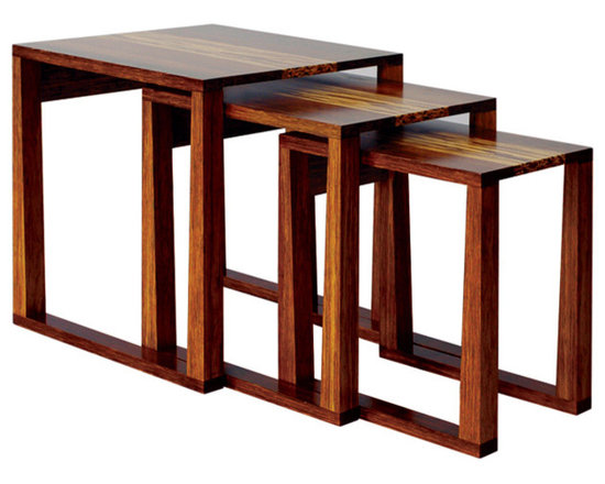 Magnolia Nesting Tables With Tiger Inlay -