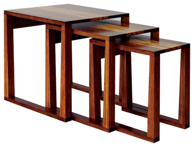 Magnolia Nesting Tables With Tiger Inlay Modern Side