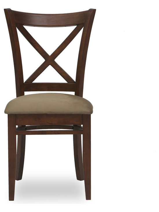 Bryght - Celia Light Brown Fabric Upholstered Cocoa Dining Chair - The Celia dining chair showcases a timeless and classic vintage design. Simple yet graceful, the Celia dining chair is well suited for all occasions, with its ergonomic solid wood cross back design and a cozy padded seat in microfiber.