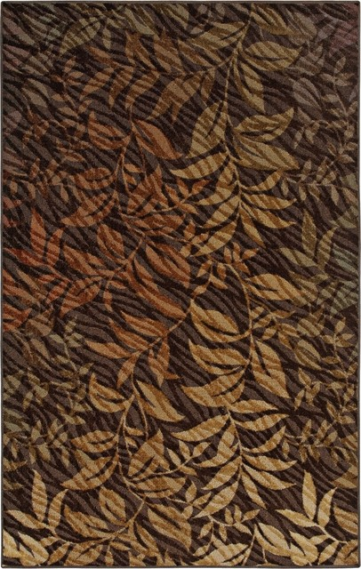 Transitional Rainforest Brown Area rug traditional-rugs