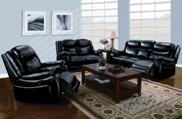 black leather power motion 2 piece sofa set 50095 s modern living