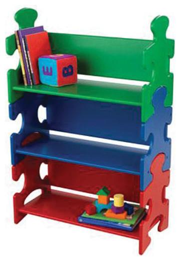 Kidkraft Kids' Wooden Puzzle Bookshelf modern-toy-storage