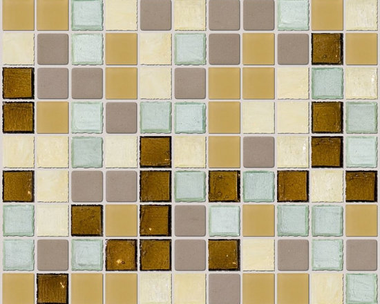 """Susan Jablon Mosaics - Brown Gray Yellow Green Glass Tile Mix - This glass tile mosaic blend is comprised of 1"""" handmade tiles in tones of brown, grey, yellow and green colors. It is the perfect complement for your solid color neutral counter top in just about any shade .This blend features honey, taupe,sage,oatmeal and olive bottle glass arranged in a 1"""" layout for any surface in your home or business.It is very easy to install as it comes by the square foot on mesh and it is very easy to clean! About a decade ago, Susan Jablon re-ignited her life-long passion for mosaics and has built a customer-focused, artist-driven, business offering you the very best in glass and decorative tiles and mosaics. We are a glass tile store committed to excellence both personally and professionally. With lines of 100% SCS Qualified recycled tile, 12 colors and 6 shapes of mirror, semi precious turquoise stones from Arizona mines, to color changing dichroic glass. Stainless steel tiles in 8mm and 4mm and 12 designs within each, and anything you can dream of. Please note that the images shown are actual photographs of the tiles however, colors may vary due to the calibration of each individual monitor. Ordering samples of the tiles to verify color is strongly recommended."""