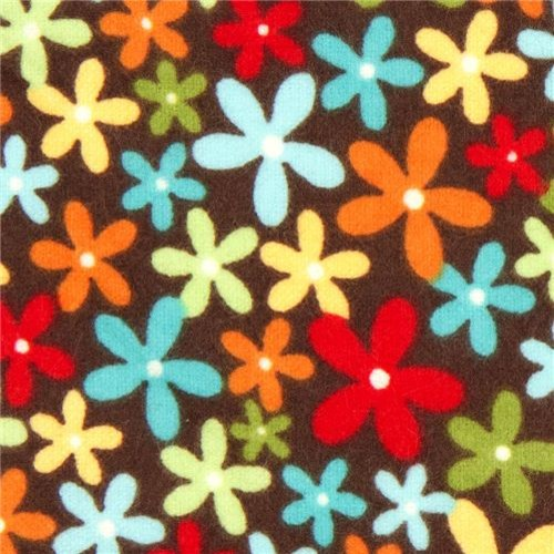 brown flannel fabric with little flowers by Robert Kaufman fabric