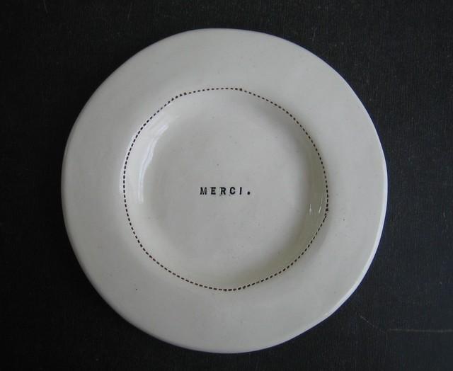 Wide Rim Wafer Plate, Merci by Rae Dunn modern-plates