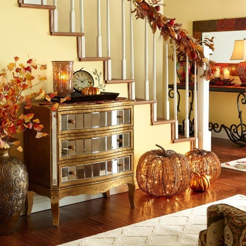 add some of those fall inspired accessories and colors to the interior but less can be more dont go overboard - Harvest Decor