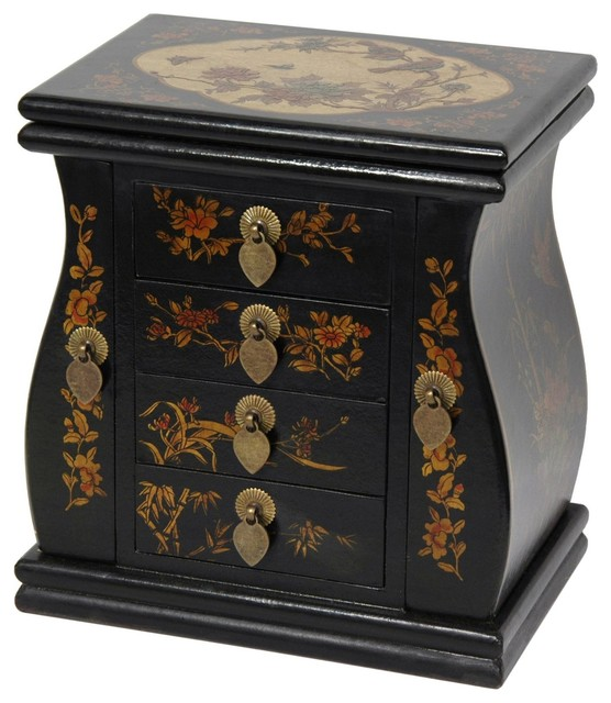 Black Lacquer Standing Mirror Jewelry Box - Traditional - Jewelry Boxes And Organizers - by ...