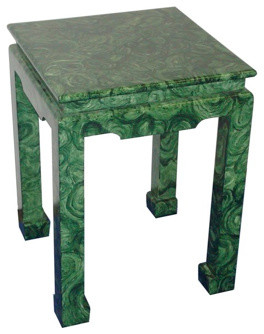 Ming Faux Finish Tables, Malachite asian-side-tables-and-end-tables