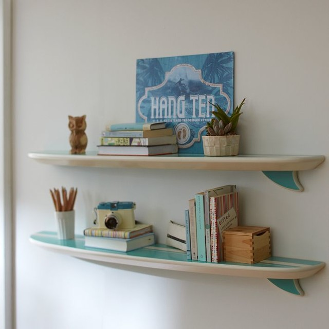Pool surfboard shelf beach style display and wall for Surfboard decor for bedrooms