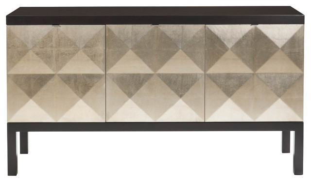 Sterling Hollywood Regency Sideboard With Faceted Gold Leaf Front transitional-storage-units-and-cabinets