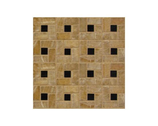 Honey Onyx Black Pinwheel Natural Stone Mosaic -
