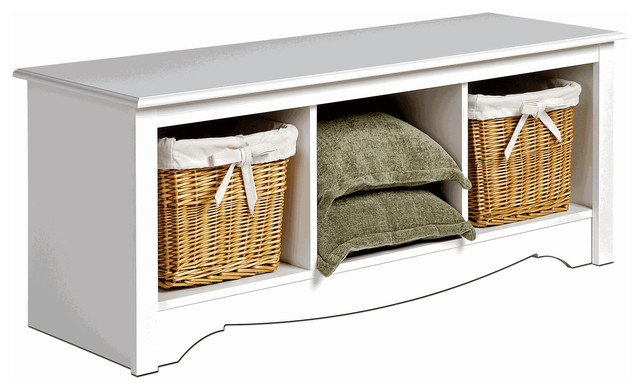 Monterey Cubbie Bench - White traditional benches