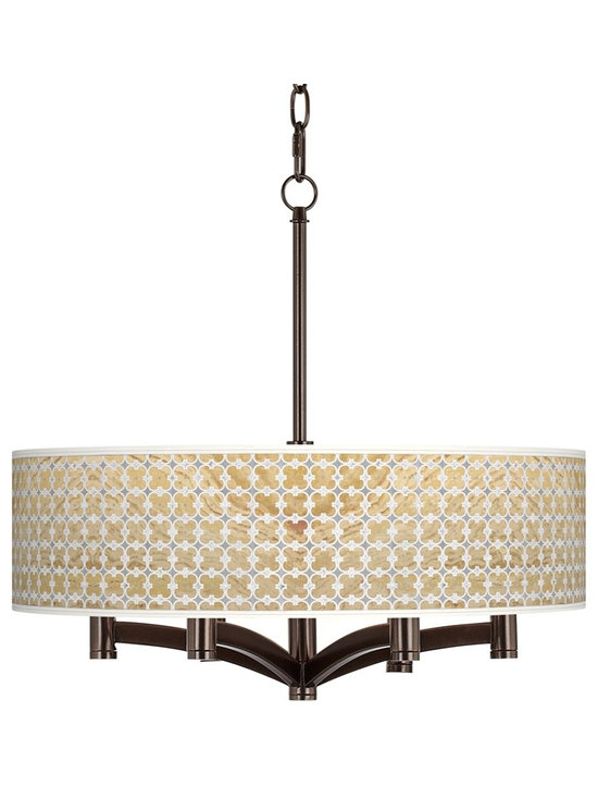 """Giclee Glow - Traditional Marble Quatrefoil Ava 6-Light Bronze Pendant Chandelier - Tiger bronze finish. Exclusive giclee printed Marble Quatrefoil pattern. Custom printed translucent shade. Maximum six 60 watt candelabra bulbs (not included). Includes 10 feet of chain 12 feet of wire. 19 1/2"""" high. Shade is 20"""" wide 5 1/4"""" high. Canopy is 6"""" wide.          Tiger bronze finish.  Exclusive giclee printed Marble Quatrefoil pattern.  Custom printed translucent shade.  Maximum six 60 watt candelabra bulbs (not included).  Includes 10 feet of chain 12 feet of wire.  19 1/2"""" high.  Shade is 20"""" wide 5 1/4"""" high.  Canopy is 6"""" wide."""