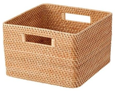Stack-able Rattan Basket with Handles - Tropical - Baskets ...