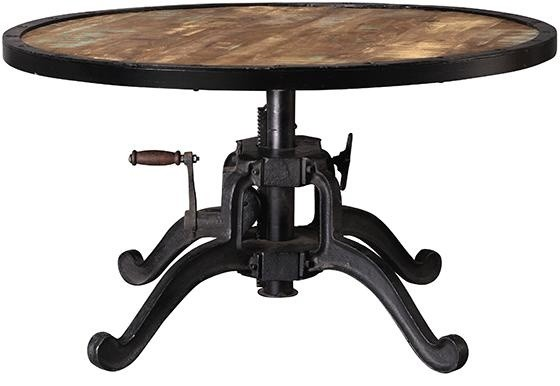Industrial Adjustable Height Coffee Table Natural