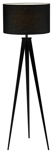 black finish tripod 65 1 2 high floor lamp contemporary lamp shades. Black Bedroom Furniture Sets. Home Design Ideas