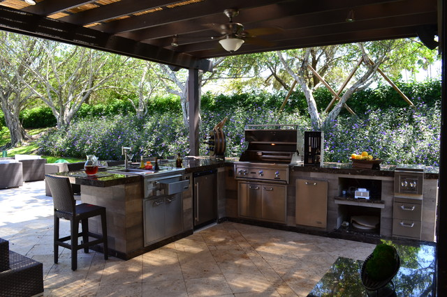 outdoor kitchen and pergola project in south florida traditional patio