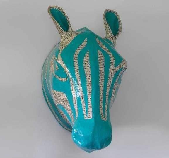 Zebra Sky Papier-Mâché Head eclectic-accessories-and-decor