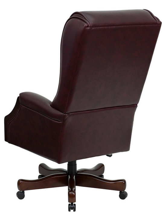 High Back Traditional Tufted Burgundy Leather Executive Office Chair - Back - Photo by Flash Furniture, chair available @ http://www.dynamichomedecor.com/FF-KC-C696TG-GG.html