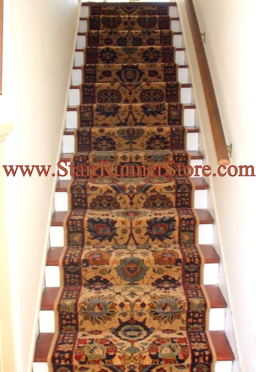 Straight staircase with runner carpet