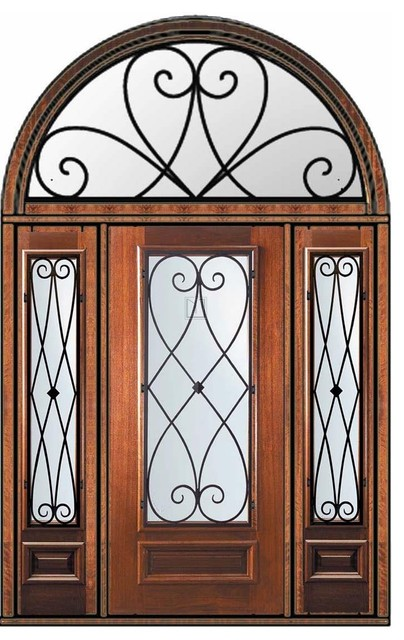 Prehung sidelights transom door 80 mahogany charleston 3 4 Exterior doors with sidelights and transoms