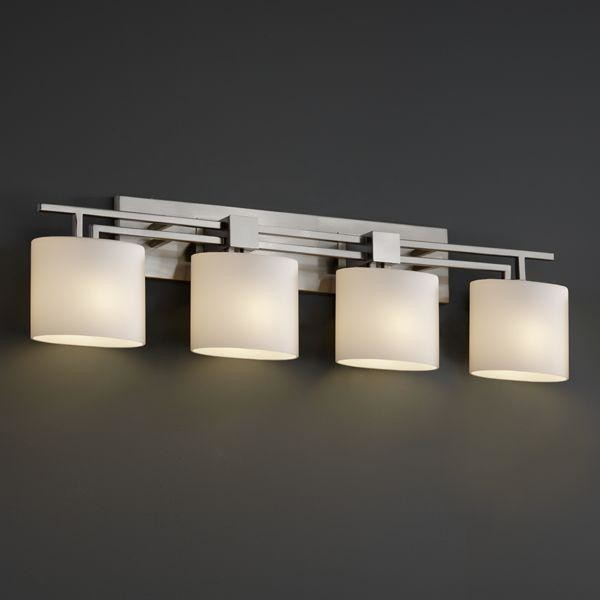 Vanity Mirror Light Bar : Justice Design FSN-8704-30-OPAL-NCKL Aero 4-Light Bath Bar Fusion Collection