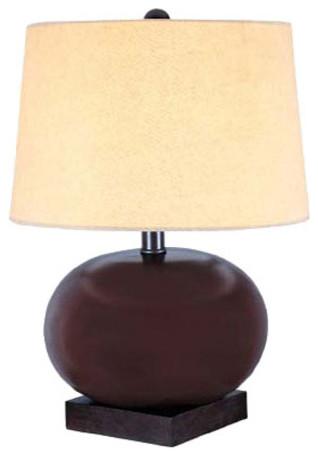 Ceramic Table Lamp, Dark Walnut/Beige Fabric Shade, A 150W traditional-lamp-shades