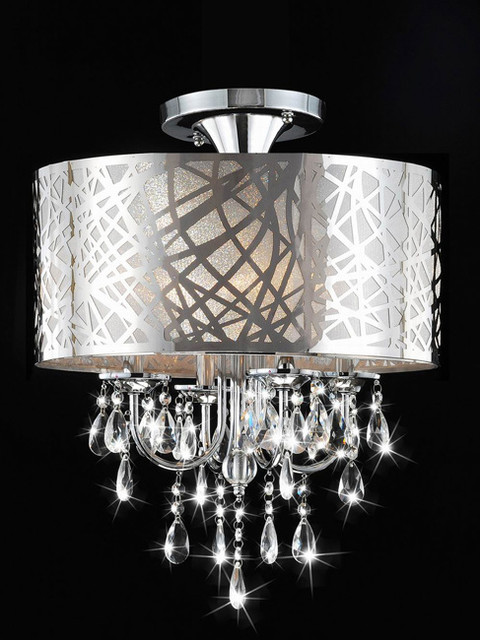 Chrome and crystal 4 light flushmount chandelier contemporary chandeliers by - Bathroom crystal chandelier ...