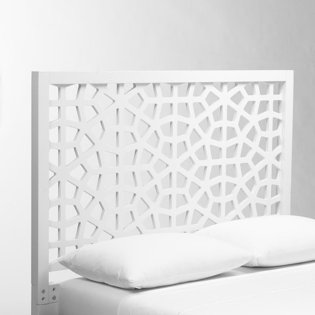 Morocco Headboard, White Lacquer contemporary-headboards