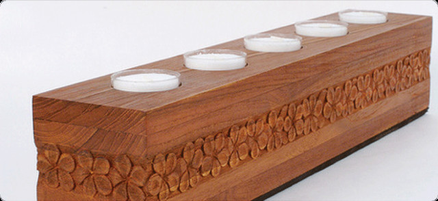 Reclaimed Teak Candle Holder contemporary-candles-and-candle-holders