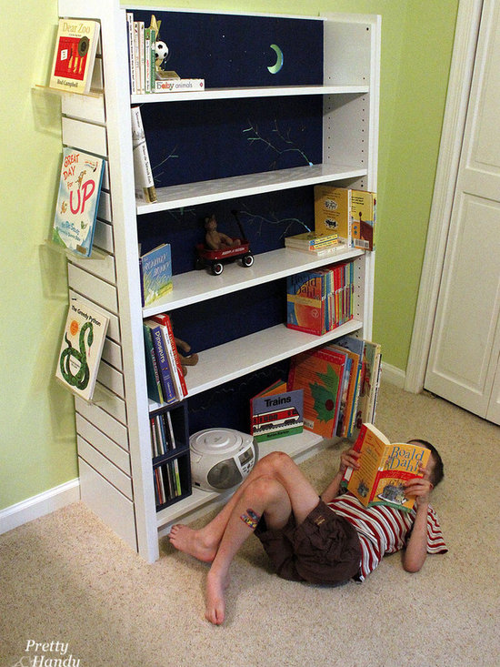 Backlit Bookshelf Made from Old Borders Display Shelves - Turning an old Borders Display Shelf into a whimsical backlit bookcase for a child's room