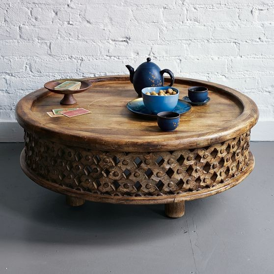 Carved Wood Coffee Table Eclectic Tables By
