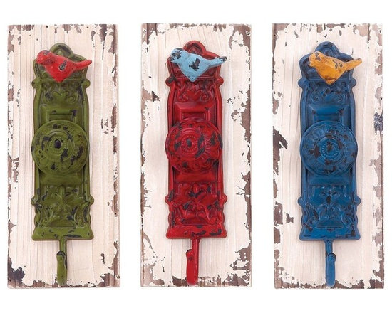 Benzara - Wall Hook Assorted with Vibrant Colors - Set of 3 - A perfect combination and elegance and functionality , this Wood Metal Wall Hook 3 Assorted 4 in. W, 1 is sure to lend a dash of vibrancy and style. Designed with door-knob style accents, this assorted of hooks is lavished with vibrant colors and flaunts a weathered look. This set of three hooks is detailed with dainty metal bird motifs and carved floral accents that lend a vintage, old-world charm to its aesthetic appeal. With its robust construction, this wall hook offers versatile functionality and can be used in the kitchen, near entryways or in rooms to hang essential items and keep them close at hand. Designed from a combination of premium grade wood and top quality metal, this wall hook set is sure to last you long.
