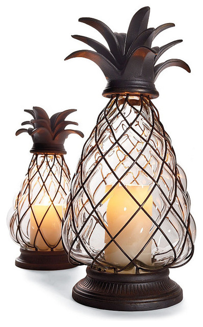 Pineapple hurricane large traditional candleholders by frontgate for Pineapple exterior light fixtures
