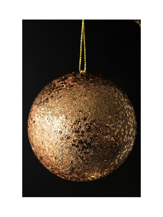 Giant Glitter Bauble Christmas Decorations - Copper -