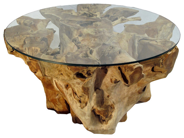 Teak tree trunk and glass coffee table natural color Tree trunk coffee table glass top