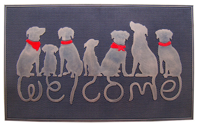 DOG TAIL Designer u0026quot;WELCOMEu0026quot; Rubber DoorMat. - Contemporary - Doormats - by A1 Home Collections