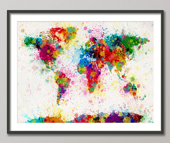 Paint Splashes Map Of The World Map By Art Pause eclectic artwork