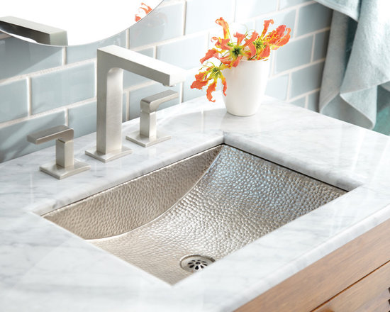 Avila Copper Bath Sink in Brushed Nickel by Native Trails - Elegant in its design and sublime in its execution. Like a favorite gallery sculpture, Avila captivates - just look at how its ample rectangular shape and semi-circular sloped bowl generously display its hand-hammered texture. Available in either Antique copper or hand-dipped Brushed Nickel finish.