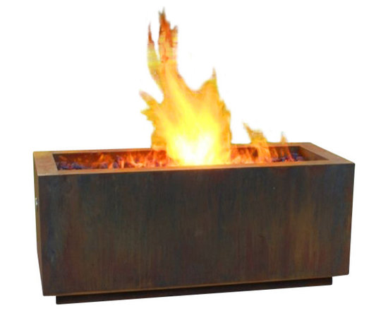 "Home Infatuation - Rectangular Weathering Steel Fire Pit, Glass/Lava Rock with/Natural Gas - This handcrafted outdoor fire pit is constructed entirely of 11 gauge Cor-Ten steel. Commonly called ""weathering steel"" it will develop a beautifully brown layer of rust when exposed to the weather."