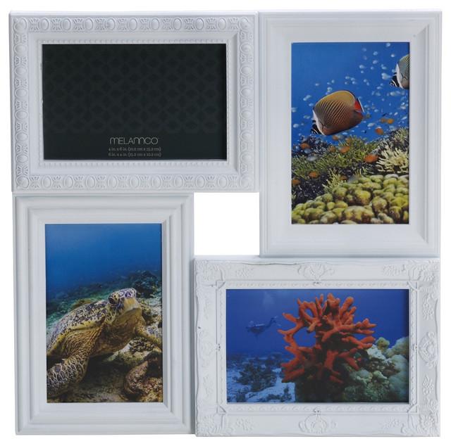 Melannco 4 opening white multi profile collage frame for Modern collage frame