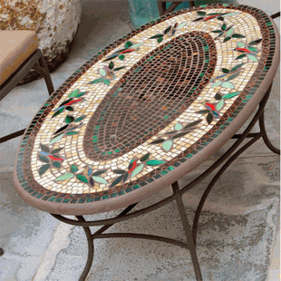 Iron & Mosaic Coffee Table - Traditional - Outdoor Coffee Tables - by ...