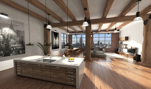 Loft renovation soho new york city industrial for Loft soho new york