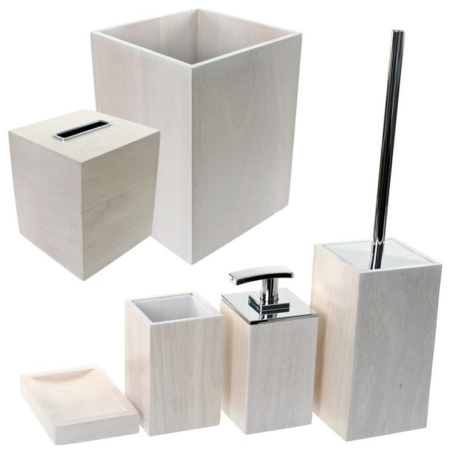 Wooden 6 piece white bathroom accessory set for Bathroom sets and accessories
