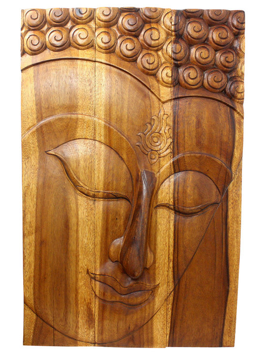 Kammika - Buddha Panel Ushnisha Sust Wood 24 x 36 inch Ht w Livos Eco Friendly Walnut Oil - This inspiring Buddha Panel Ushnisha 24 inch Length x 36 inch H Sustainable Wood in Eco Friendly, Natural Livos Walnut Oil Finish wall panel presents Ushnisha - a three dimensional oval at the top of the head of the Buddha. It symbolizes his wisdom and openness as an enlightened being. The first representations of the Buddha in the 1st century CE in the Greco-Buddhist art of Gandhara also represent him with a topknot, rather than just a cranial knob. It is thought that the interpretation of the Ushnisha as a supernatural cranial protuberance happened at a later date, as the representation of the topknot became more symbolized and its original meaning was lost (Mario Bussagli, L art du Gandhara). The mark of Ushnisha symbolizes his wisdom and openness as an enlightened being.  This Ushnisha Buddha wall panel has been carved from three joining panels. Three joined panels have two embedded hangers on the topmost securing crossbar on the back for a protruding screw from your wall.  Hand carved in Thailand, the panels are made of sustainable wood grown specifically for the wood carving and furniture making industry. Hand rubbed in Eco Friendly, Natural, Food-safe Livos natural non toxic Walnut tone oil that creates a highly water resistant and food safe finish. Color ranges from medium to dark Walnut brown tones that will darken as the wood ages. Each piece is hand carved - no two are alike. After each Eco Friendly Functional Art piece is carved, kiln dried, sanded, and hand rubbed with Livos eco friendly all natural oil, they are packaged with cartons from recycled cardboard with no plastic or other fillers. The color and grain of your stool will be completely unique, and may include small checks or cracks that occur when the wood is dried. Sizes are approximate. Products could have visible marks from tools used, patches from small repairs, knot holes, natural inclusions, and/or 