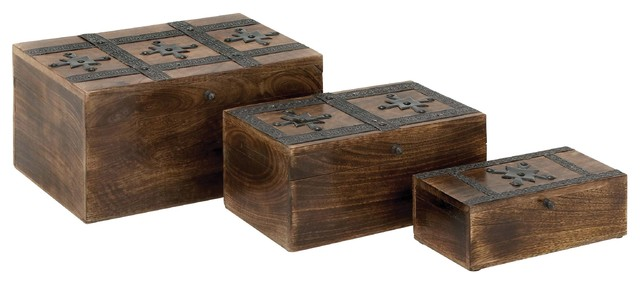 Wood Metal Box Detailed with Dark Finish modern-decorative-boxes